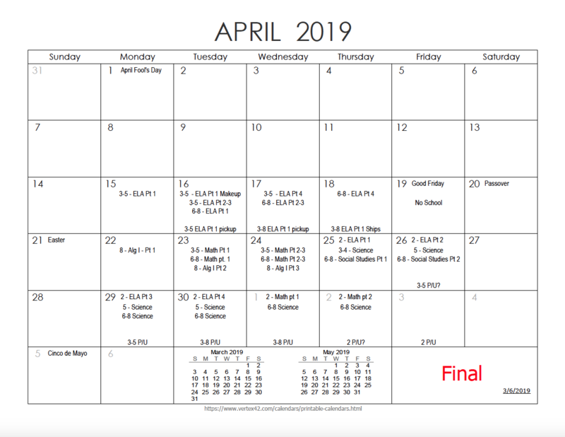 APRIL TESTING SCHEDULE