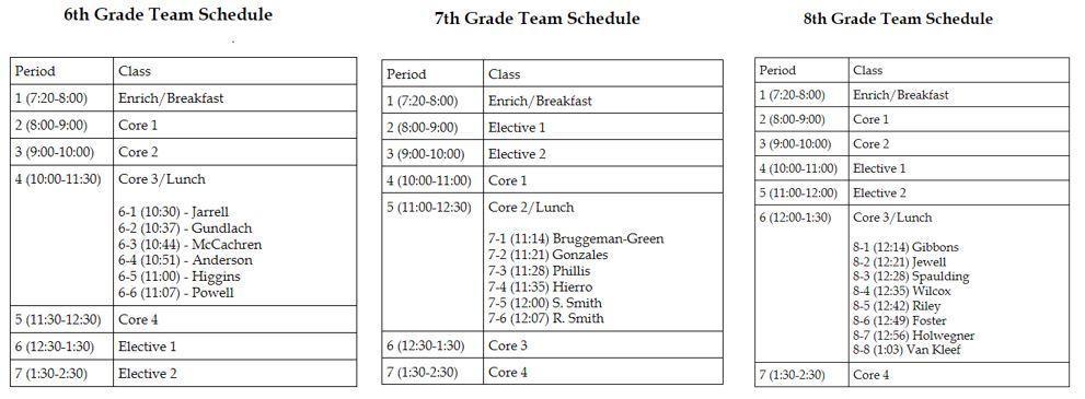 FLHS Team Schedule