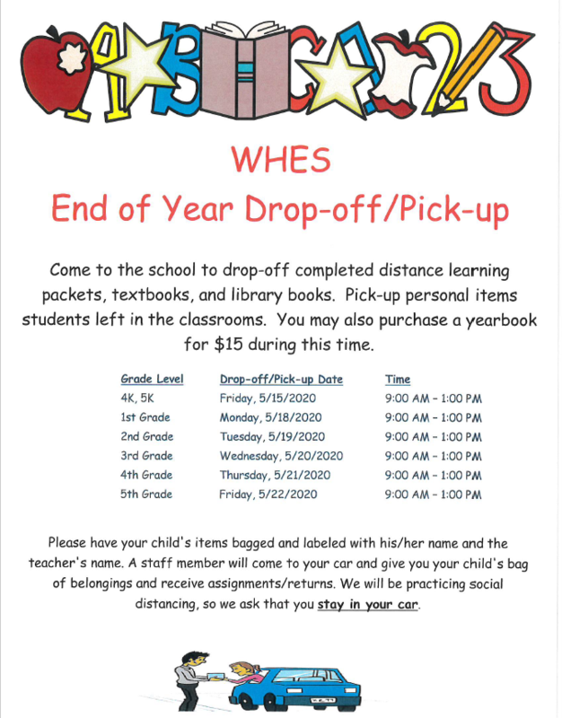 WHES Drop-Off and Pick-Up Dates