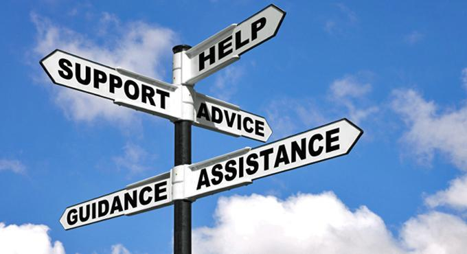 signpost stating guidance, help, assistance