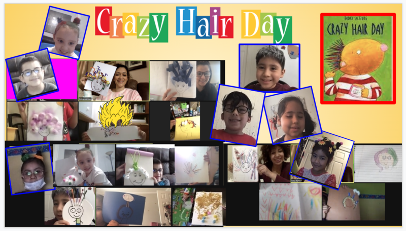 Class showing crazy hair drawings