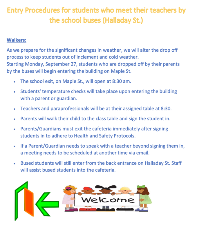 Check Out our New Entrance Procedures For Those Students Who Line Up On Halladay St. Featured Photo