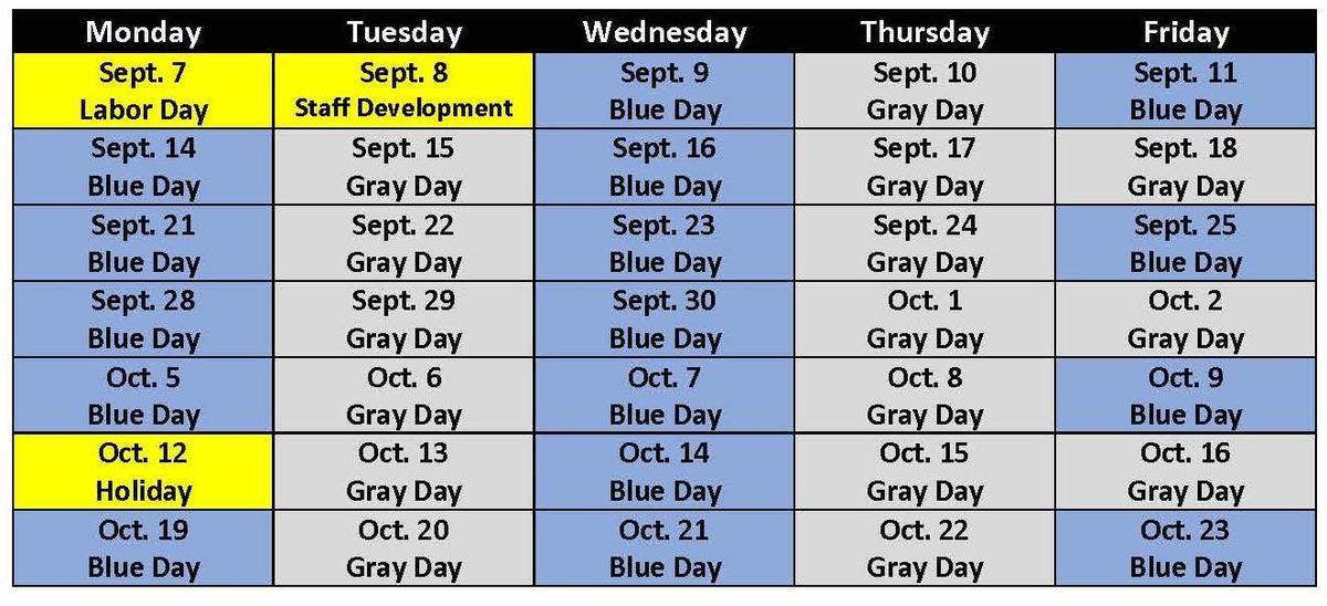 Blue Gray Schedule