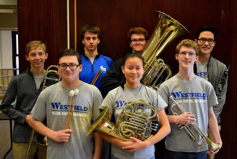 Photo of Westfield High School student musicians selected to perform this month in the Region II band and orchestra are (L-R front) Ian Gurland, Aprina Wang, Max Tennant.  (L-R back) Conor Daly, David Criscuolo, Patrick Gallagher, and Alexander Cha.