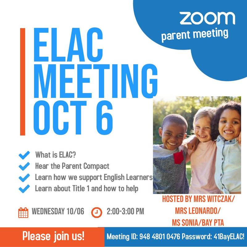 ELAC MEETING OCTOBER 6TH Featured Photo