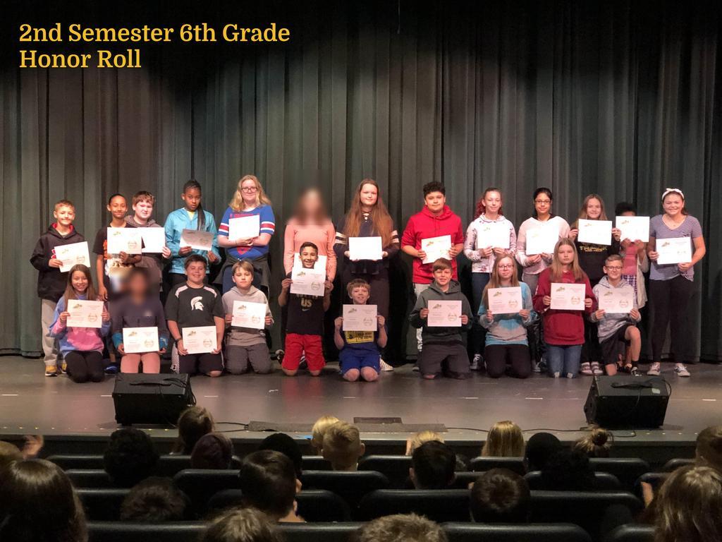 S2 6th Grade Honor Roll