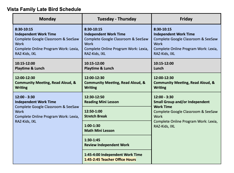 Vista Late Bird Schedule