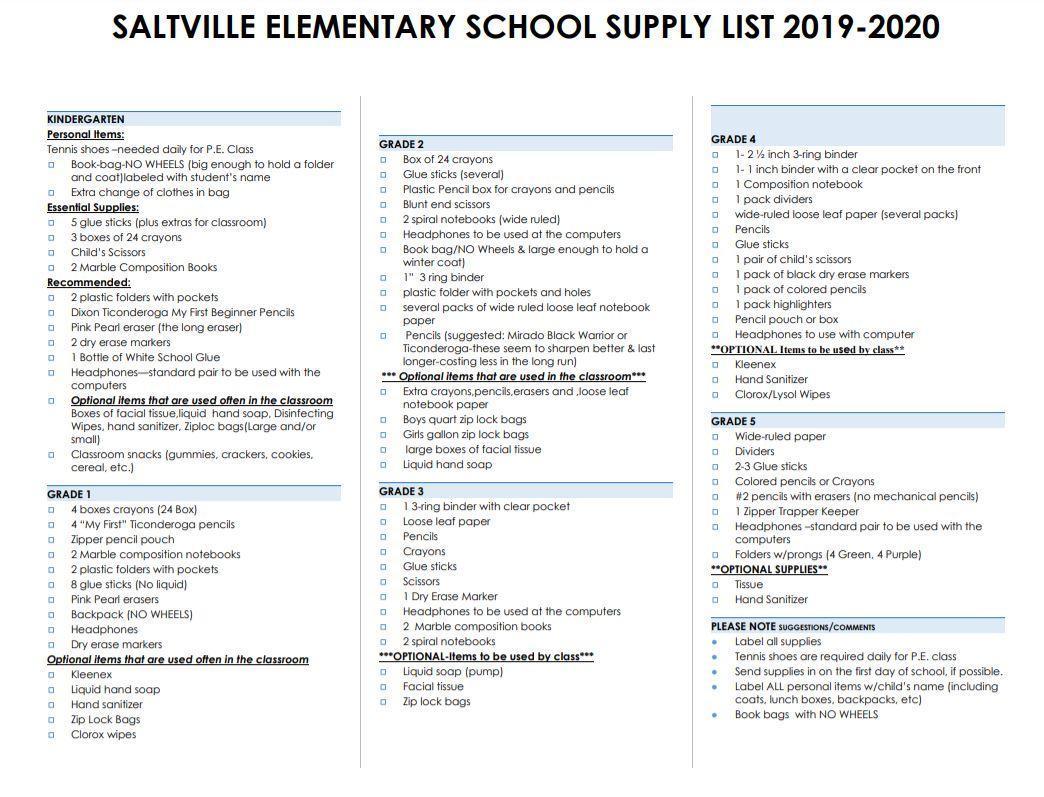 SES 2019-2020 School Supply List