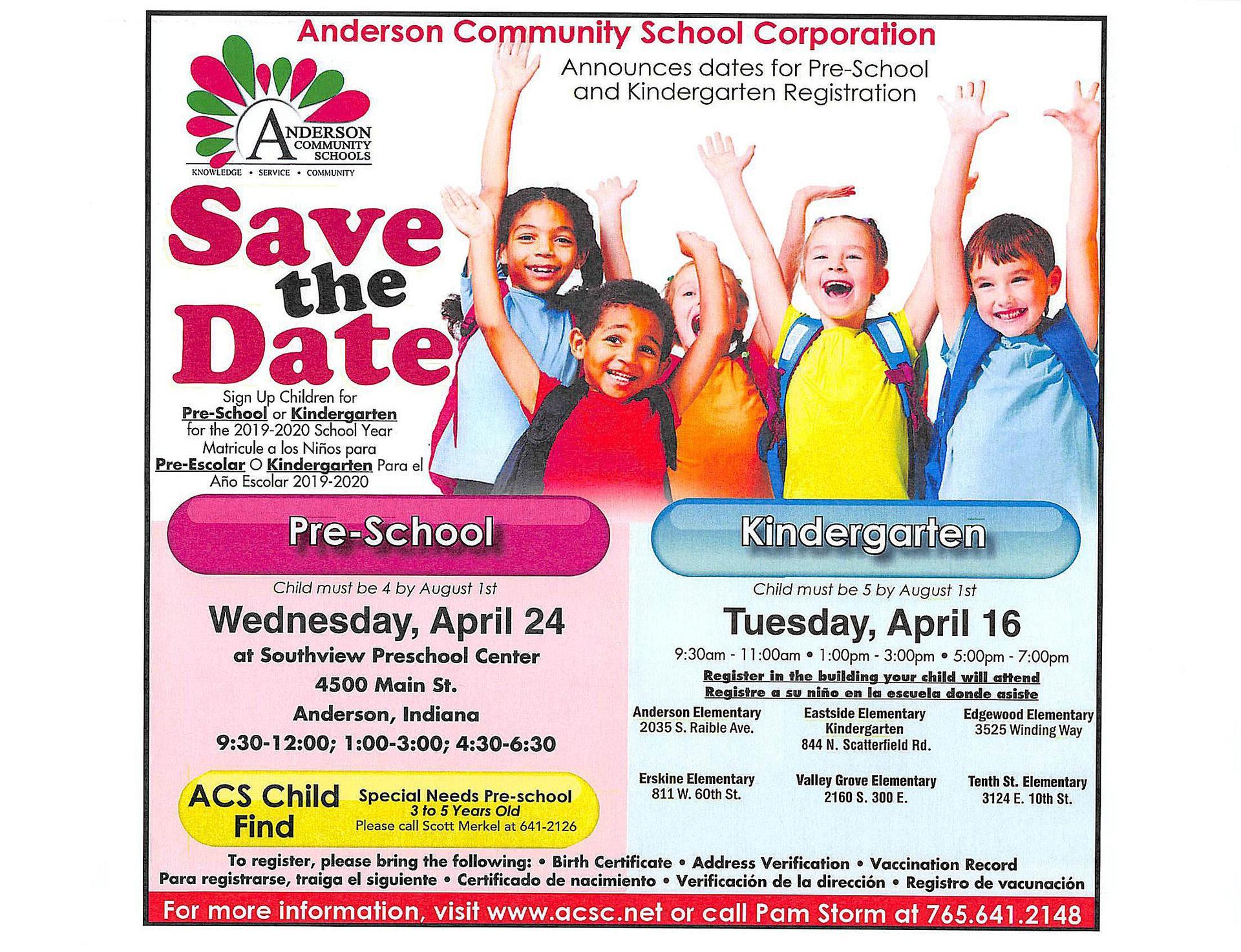 Save the Date:  Kindergarten and PreSchool Registration