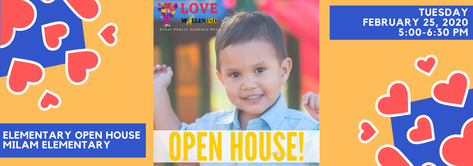 Elementary Open House, Tuesday, February 25, 2020, 5:00-6:30 PM