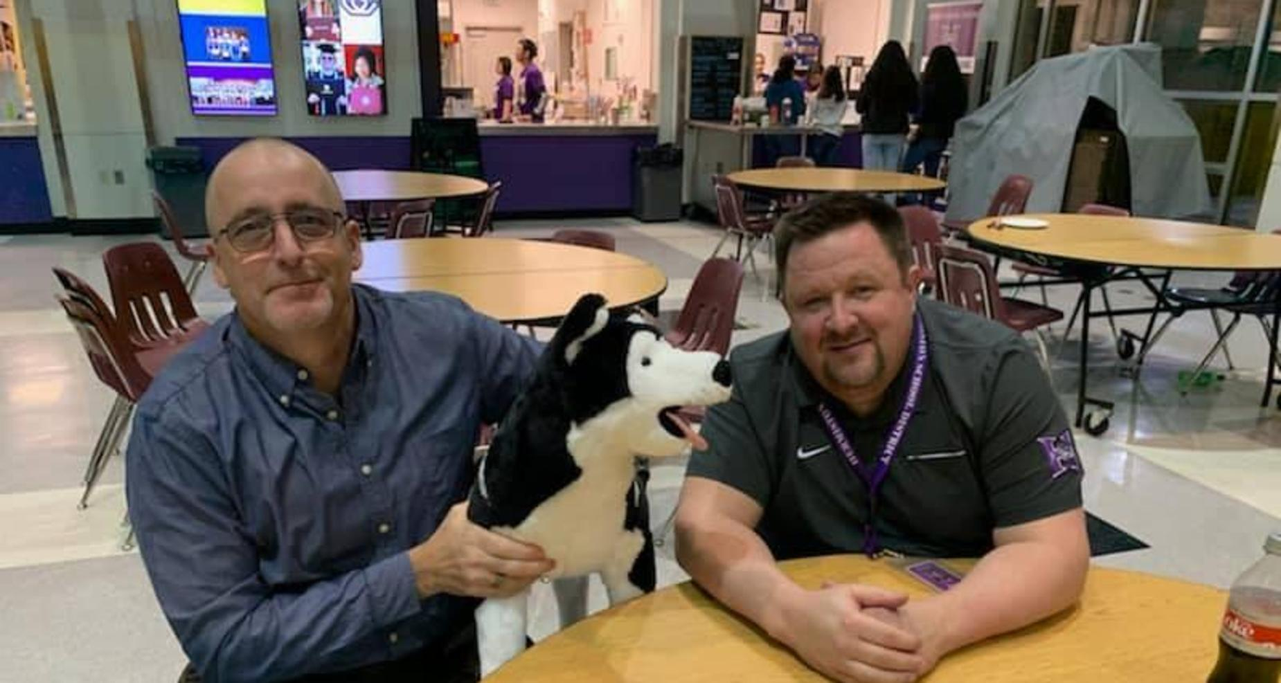 Mr. Spoo and Mr. Usher with Husky Dog