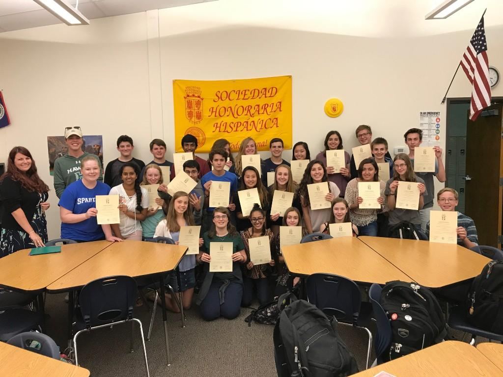 STEM's 3rd year having a chapter with the national Spanish Honor Society (Sociedad Honoraria Hispu00E1nica) and the largest group yet. These students are all in Spanish III or above and have maintained honors in every Spanish course that they have taken.
