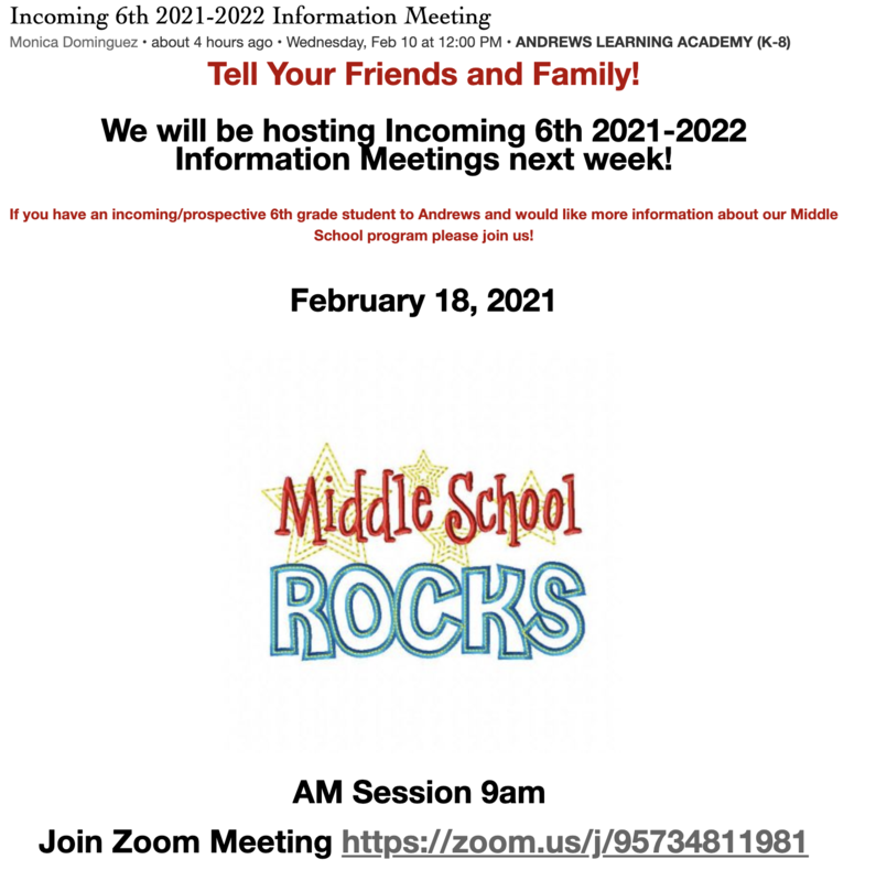 6th Grade incoming information meeting night