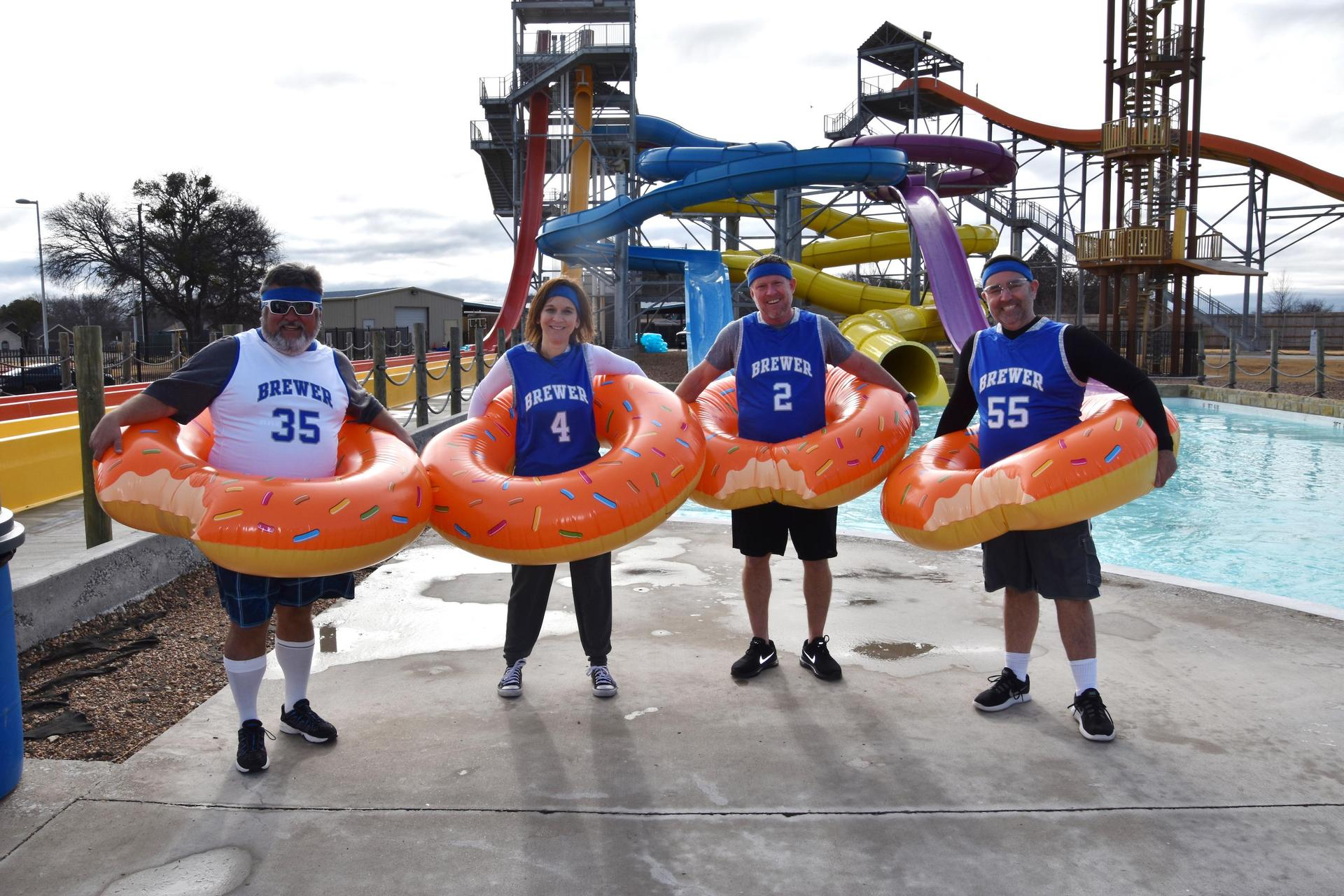 Members of the WSISD Administration Team slid into the chilly waters of Splash Dayz.