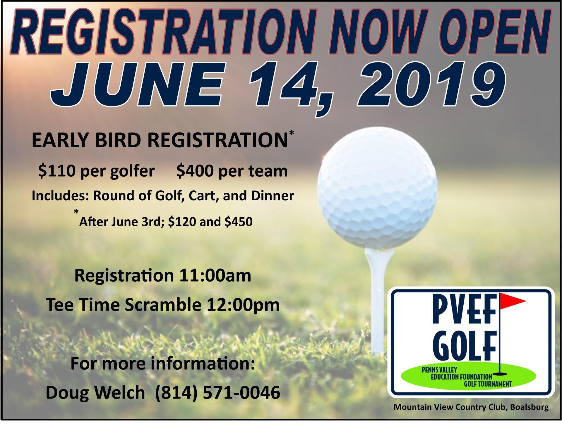 Register now for Golf Tournament