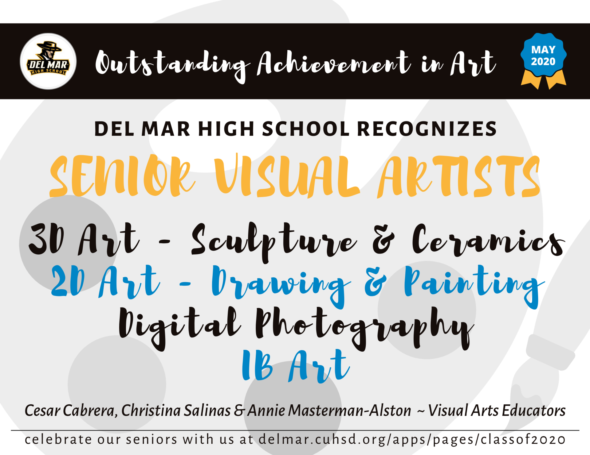 image of senior visual artist recognitions intro