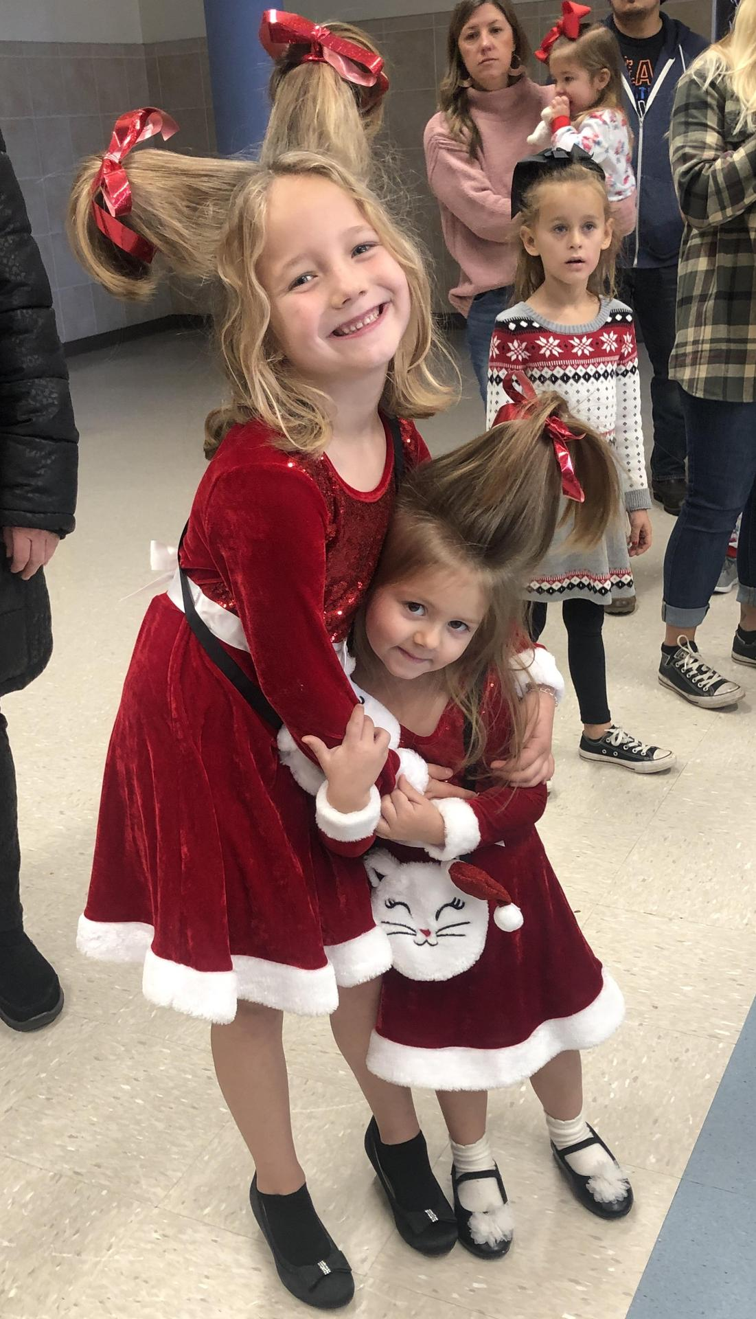 Families wore their Christmas outfits for Pancakes with Santa