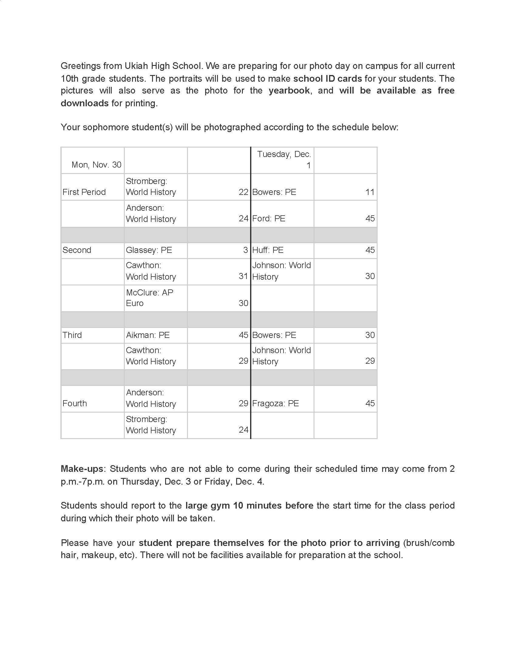 Sophmore PArent Info