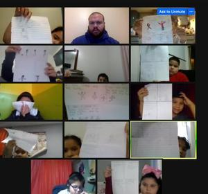 Students showing form drawings on zoom