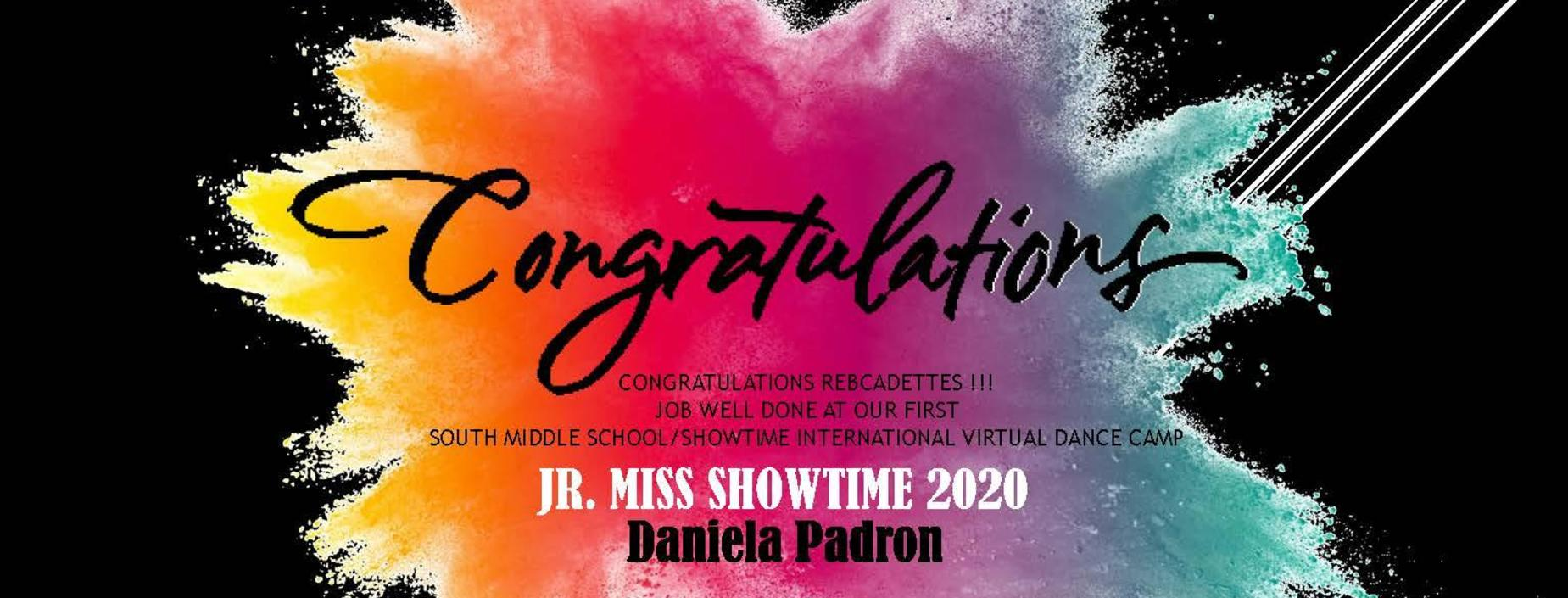 Congratulations Rebcadettes !!!  Job well done at our first  South Middle School/ShowTime International Virtual Dance Camp.