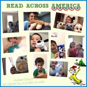 Students with stuffed animals collage