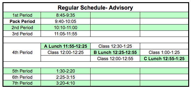 Regular Schedule with Advisory