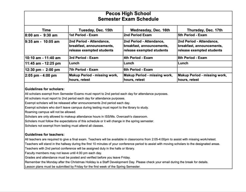 PHS Semester Exam Schedule