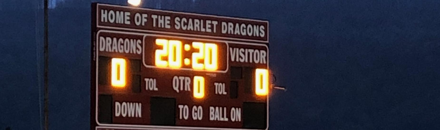 Scoreboard during Cove Light Up Night.