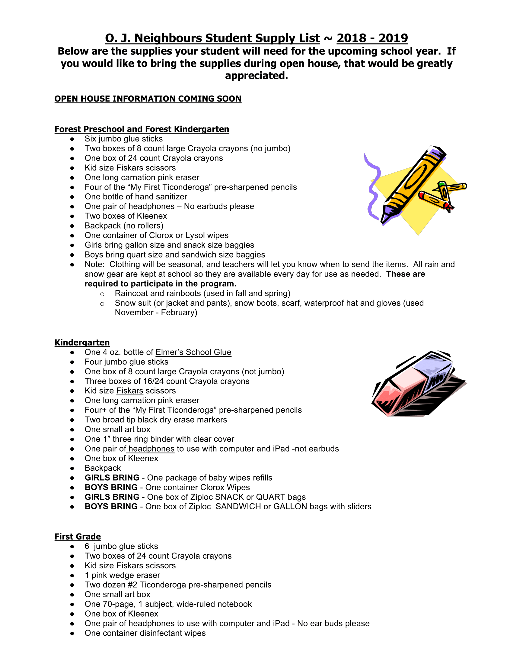 K-4 Supply List Pg. 1