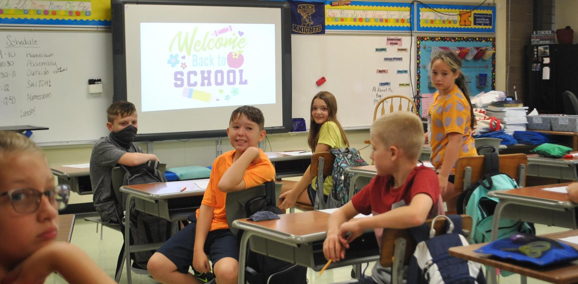 Students in classroom on first day