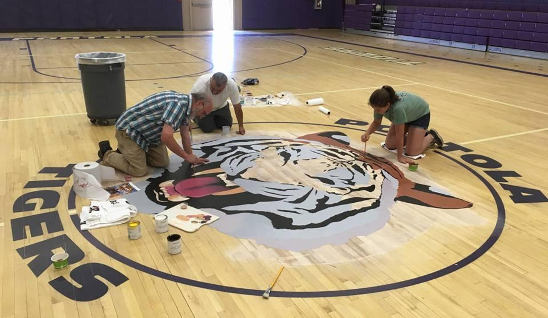 Painting the gym floor