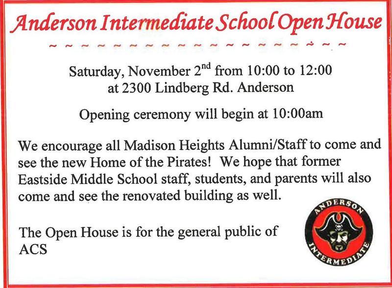 Anderson Intermediate Open House; Saturday, November 2. 10:00am -12:00