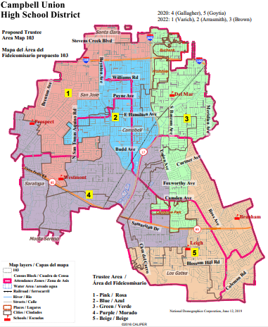 proposed trustee area map 103