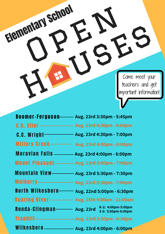 Elementary Open House Schedule (Graphic)