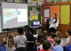Fourth graders in Elizabeth Reilly's class at Washington School held video conferences with classrooms in other cities and states as part of a global online Gingerbread STEM Community in December.