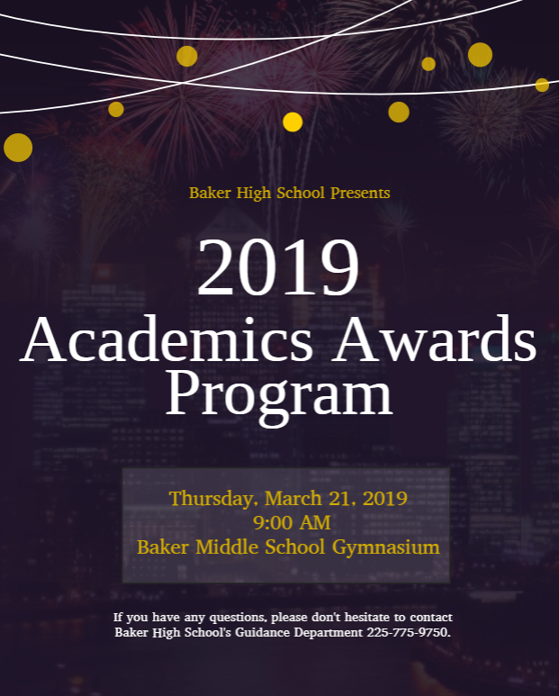 A graphic flyer announcing Baker High School's 2019 Academics Awards Program