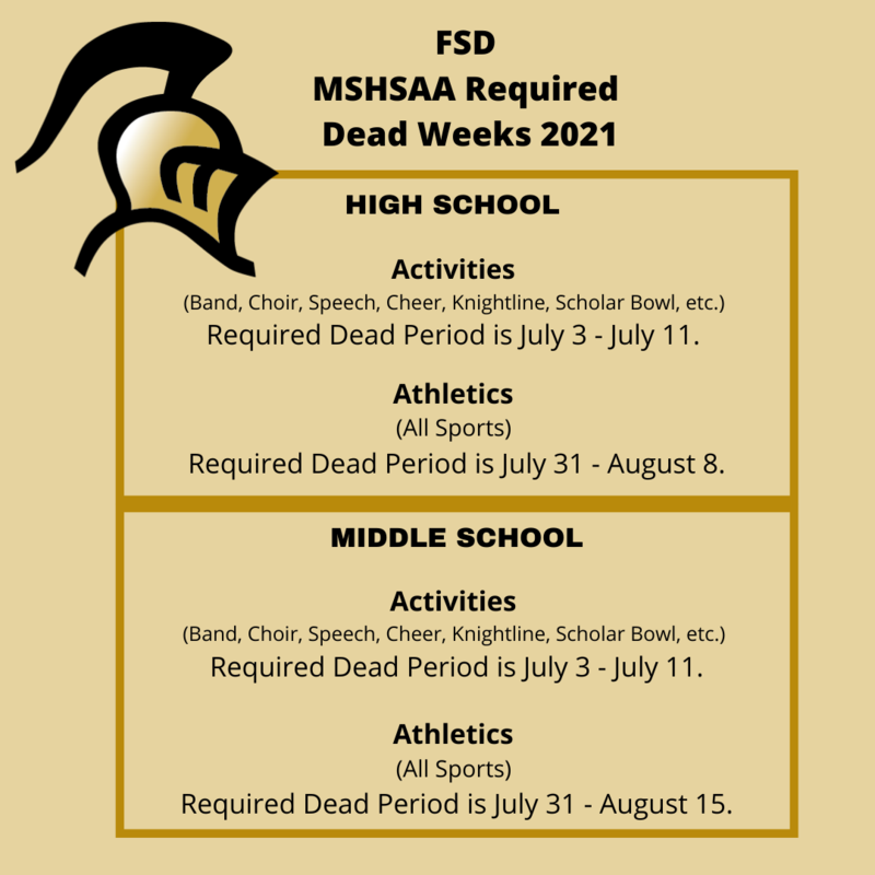 Summer Dead Periods For Athletics/Activities