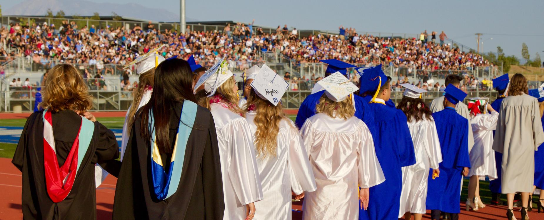 Students in cap and gowns