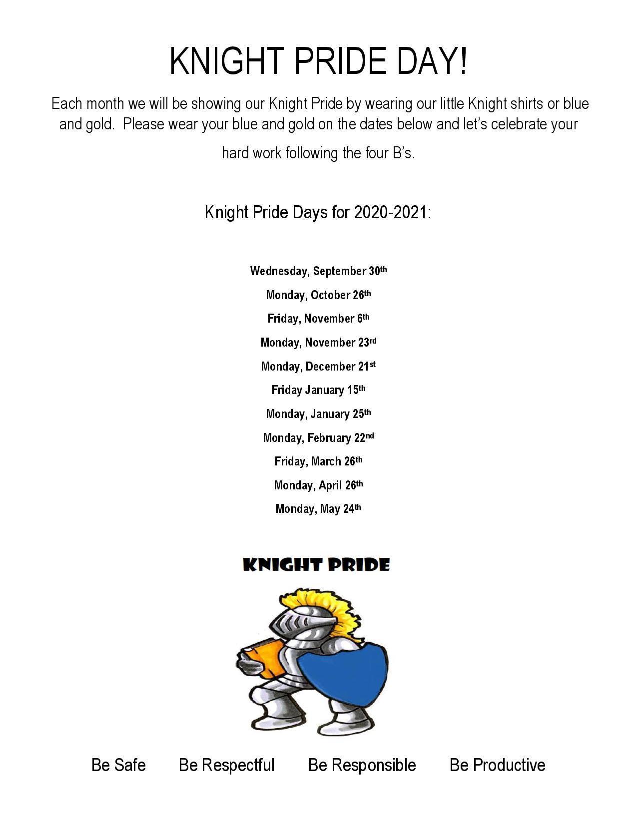 Schedule of 20-21 Knight Pride Days