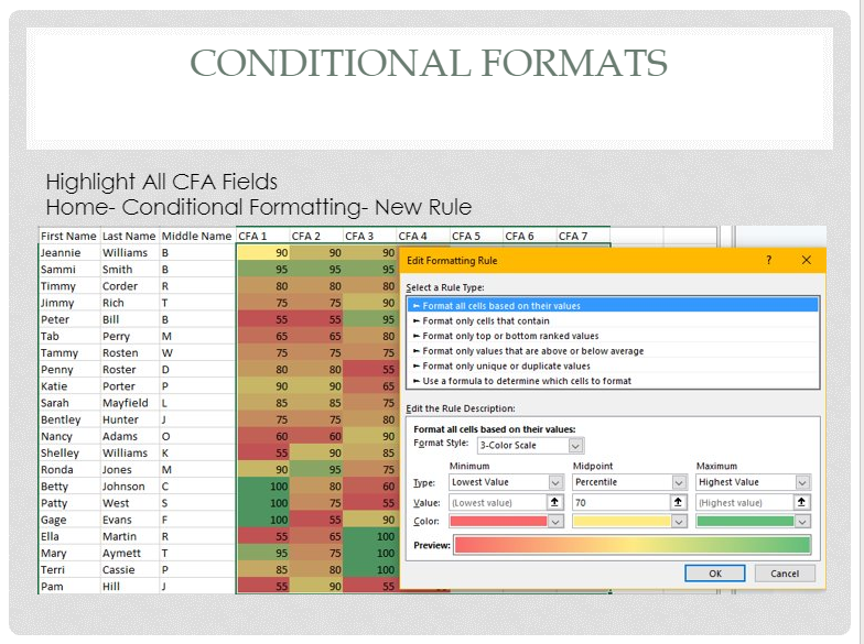 Conditional formats 2