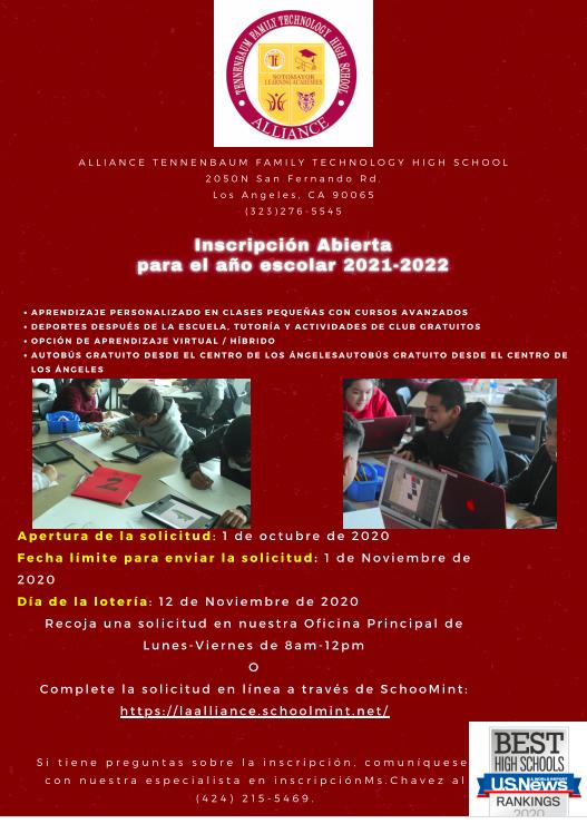 Open Enrollment October 1,2020 / Inscripción Abierta Octubre 1, 2020 Thumbnail Image