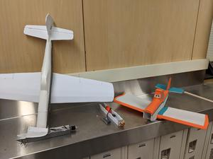 Two of the Flight Technology student-made remote controlled airplanes