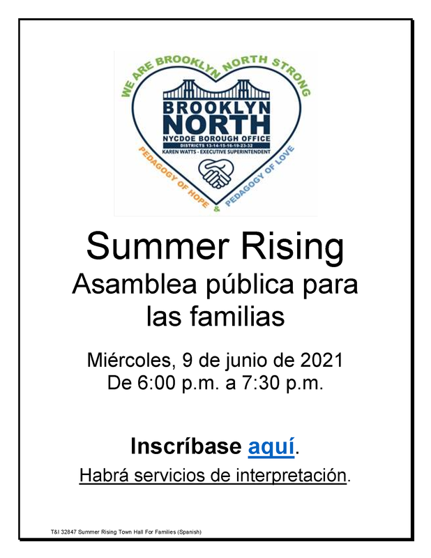 BKN Summer Rising Town Hall for Families - Spanish