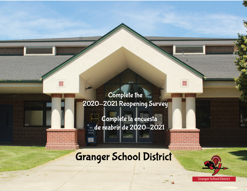 Image of Granger school with information on a survey