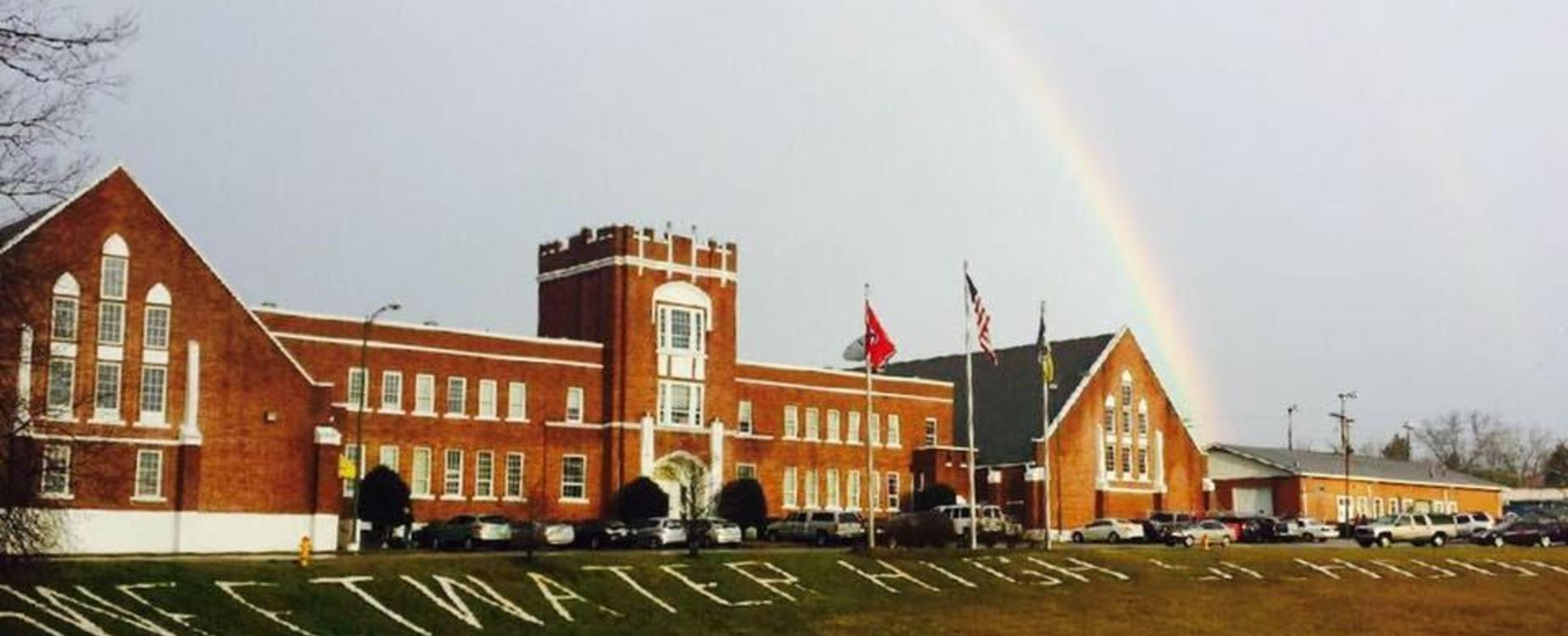 Rainbow over front of SHS High School