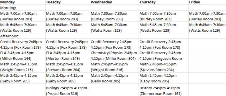 Mandatory Tutoring Schedule