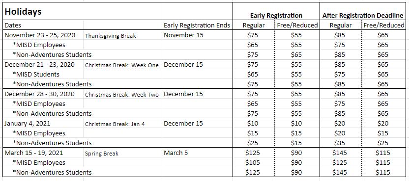 Adventures Holiday Schedule