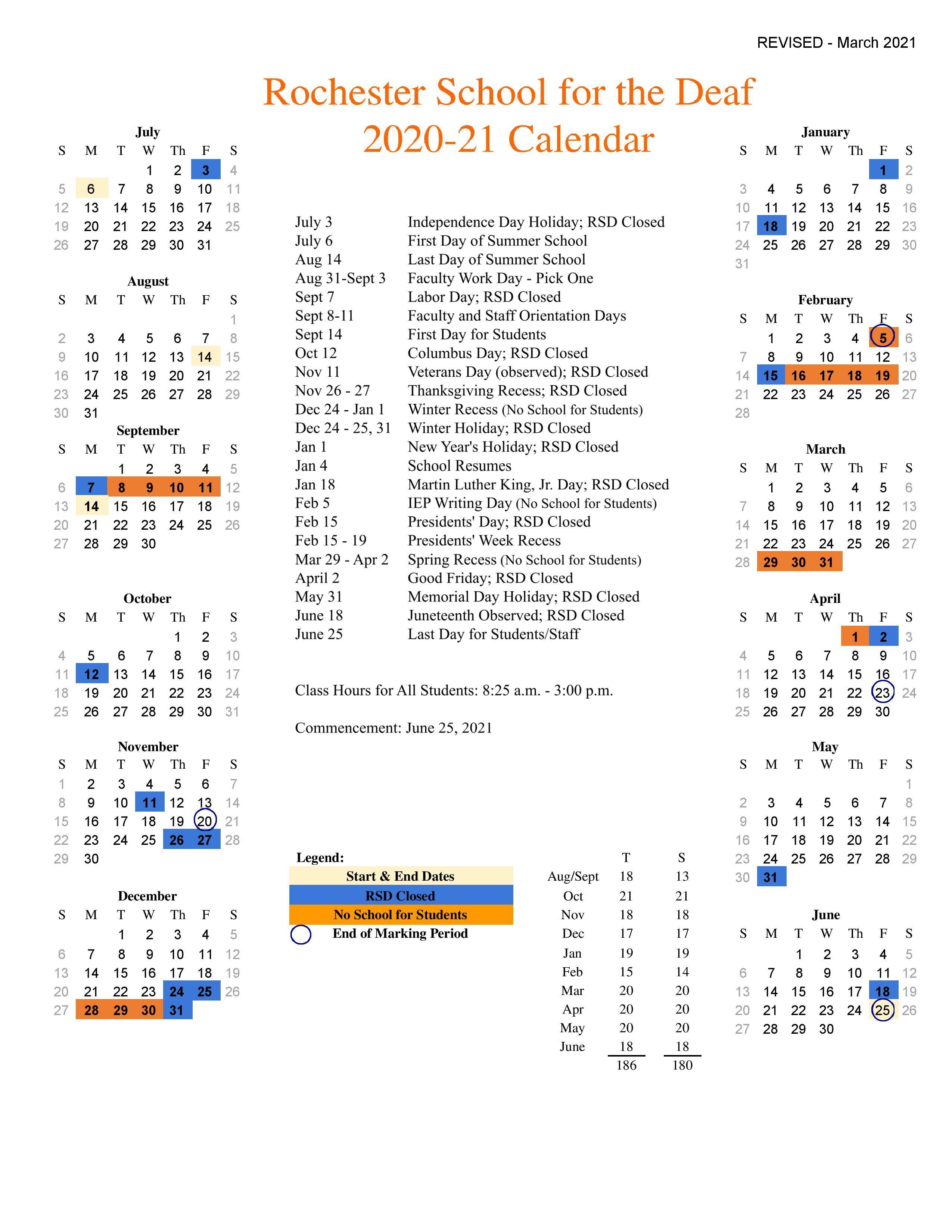 University Of Rochester Academic Calendar 2022.Academic Calendar About Rsd Rochester School For The Deaf