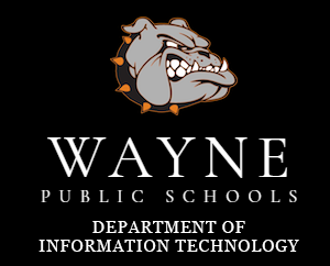Bulldog head with the words Wayne Public Schools Department of Information Technology