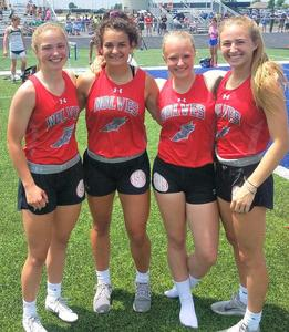 The RSHS team of Ashley Nolan, Shelby Strailey, Paige Rantz, and Izzy Erickson won both the 100-meter and 200-meter relays at last weekend's track and field sectional. They will compete in the state championships on May 25-26.